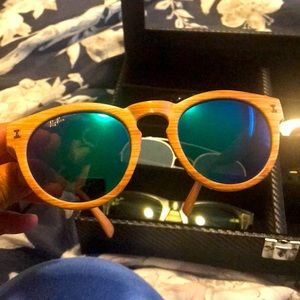 Bamboo light ray bans blue lenses